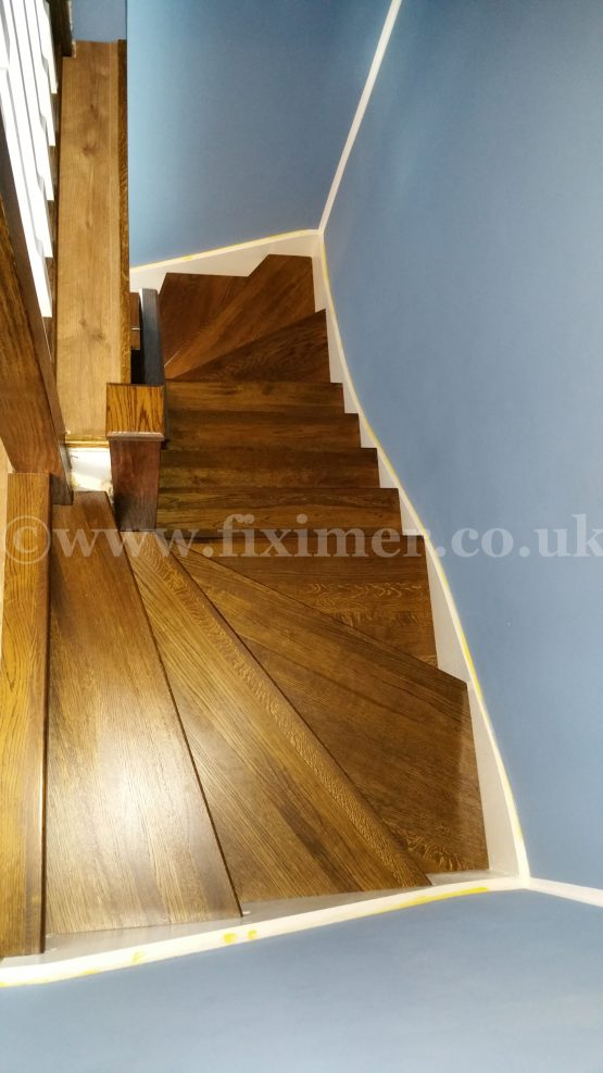 Solid Oak Steps Cladding with Spindles
