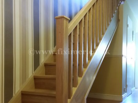 Solid oak staircase with spindles