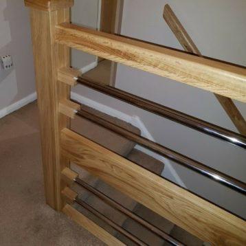 Modern Oak Beam & Chrome Pipe Banister System