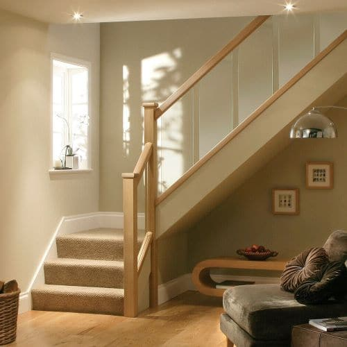Oak And Glass Staircase Handrail Set Including Glass Panels