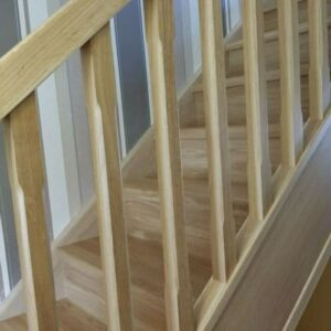 Oak Staircase Banister Chamfered Spindles + Landing Set including Newel Posts